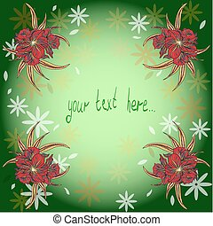 gezeichnet, hintergrund, waterlilies, hand