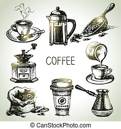 gezeichnet, kaffee satz, hand