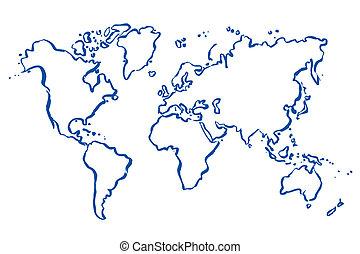 gezeichnet, landkarte, vektor, welt