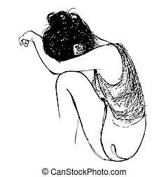 gezeichnet, m�dchen, traurige , hand
