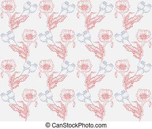 gezeichnet, mohnblumen, hintergrund, abbildung, hand