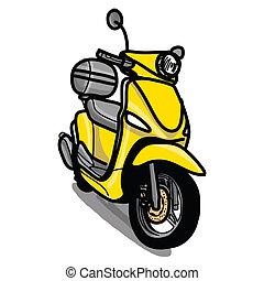 gezeichnet, motorroller, -, hand