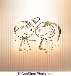 gezeichnet, paar, hand, wedding