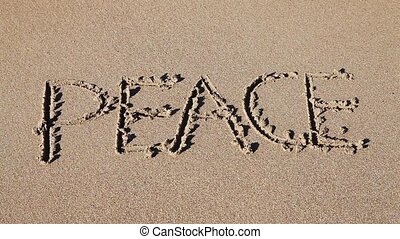 gezeichnet, sand, 'peace', wort