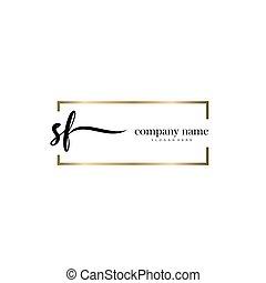 gezeichnet, schablone, logo, vektor, sf, abzeichnen, brief, ...