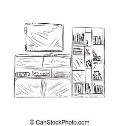 Bücherregal gezeichnet  Clipart Vektorbild von stühle, gezeichnet, skizze, furniture ...
