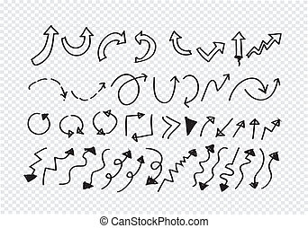 gezeichnet, skizze, pfeil, sammlung, hand