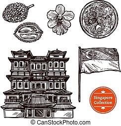gezeichnet, skizze, satz, singapur, hand