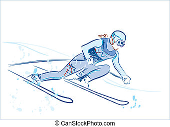 gezeichnet, skizze, skier, hand