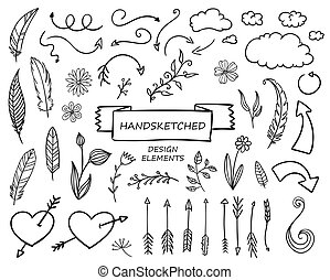 gezeichnet, vektor, entwerfen elemente, hand