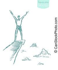 gezeichnet, vektor, erfolg, bergsteiger, mann, berg, skizze