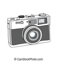gezeichnet, vektor, fotoapperat, hand