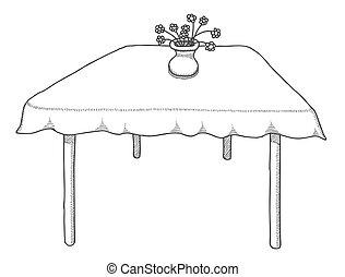 Tisch gezeichnet  Vektor Clipart von skizze, coffee., hand, essen, vektor ...
