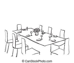 Gedeckter tisch gezeichnet  Vektorbilder von set., einstellung, abendessen., tisch ...