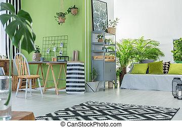 gezellig, kamer, met, planten