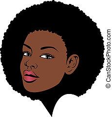 gezicht, afro, illustratie, dame