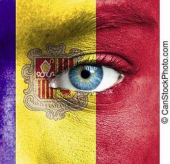 gezicht, andorra vlag, menselijk, geverfde