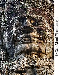 gezicht, angkor, cambodja, bayon tempel, steen