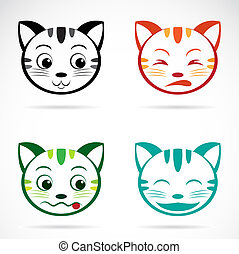 gezicht, beeld, vector, kat