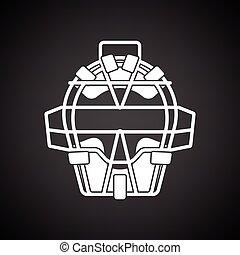 gezicht, beschermer, honkbal, pictogram