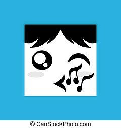gezicht, gefluit, pictogram