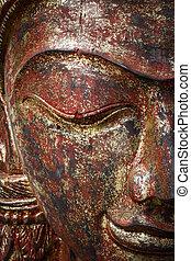 gezicht, houten gravure