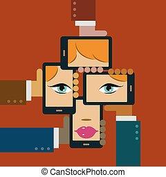 gezicht, media, sociaal