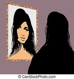 gezicht, spiegel