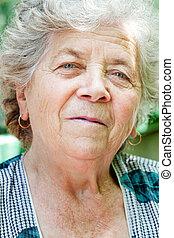 gezicht, van, het charmeren, senior, oude vrouw