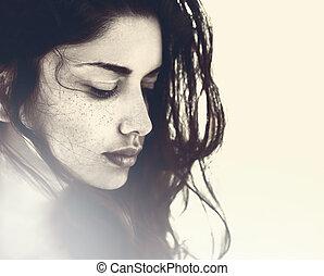 gezicht, van, mooi, sensueel, jonge vrouw