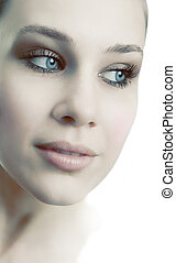 gezicht, van, sensueel, mooi, vrouwelijk, fris, vrouw