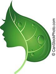 gezicht, van, vrouw, en, groen blad