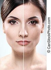 gezicht, van, vrouw, vóór en na, retouch