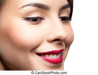 gezicht, vrouw, make-up