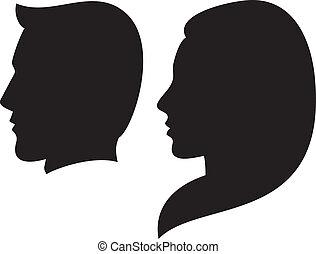 gezicht, vrouw, man