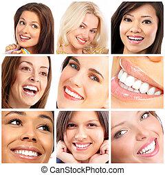 gezichten, glimlachen, en, teeth