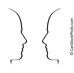 gezichten, klesten, -, black , op wit, gesprek, metafoor, concept
