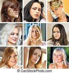gezichten, van, vrouwen