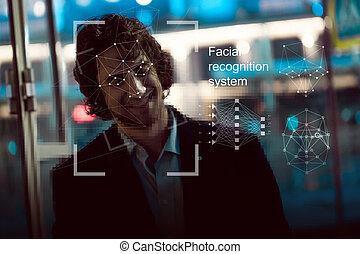 gezichts, erkenning, systeem, concept., jonge man, op de...