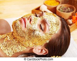 gezichts, vrouw, masker, krijgen