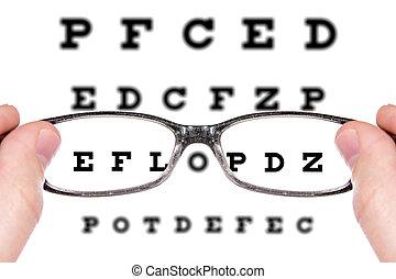gezichtstest, gezien, door, oogglazen