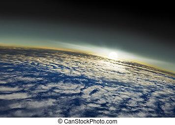 gezien, buitenst, aarde, ruimte