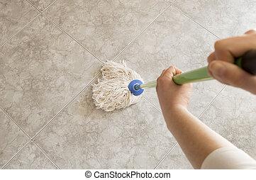 gezien, dweilen, scrubbing, boven, vloer