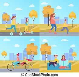 gezin, activiteiten, in park, vector, illustratie