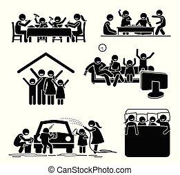 gezin, activiteiten, tijd, op, home.