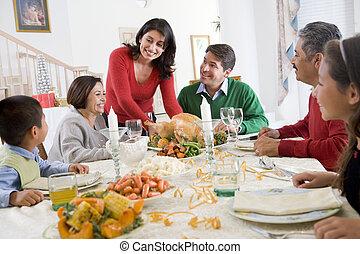 gezin, alle aaneen, op, kerstdiner
