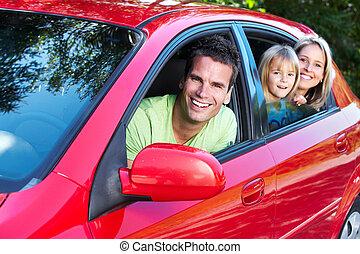 gezin, auto.