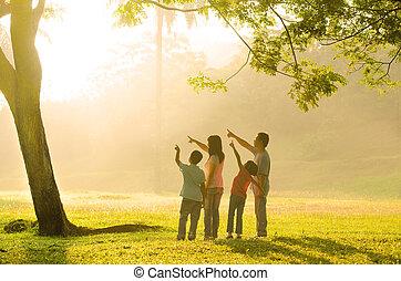 gezin, aziaat, wijzende