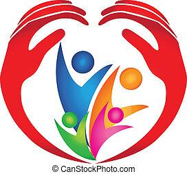 gezin, beschermd, door, handen, logo
