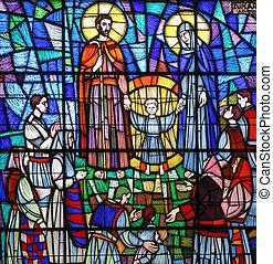 gezin, bevlekte, heilig, glas